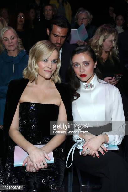 Reese Witherspoon and Bel Powley attend the Giorgio Armani Prive Haute Couture Spring/Summer 2020 show as part of Paris Fashion Week on January 21...