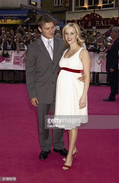 Reese Witherspoon and boyfriend Ryan Phillippe attend the UK Premiere for Legally Blonde 2 at Warner Village West End on July 24 2003 in London