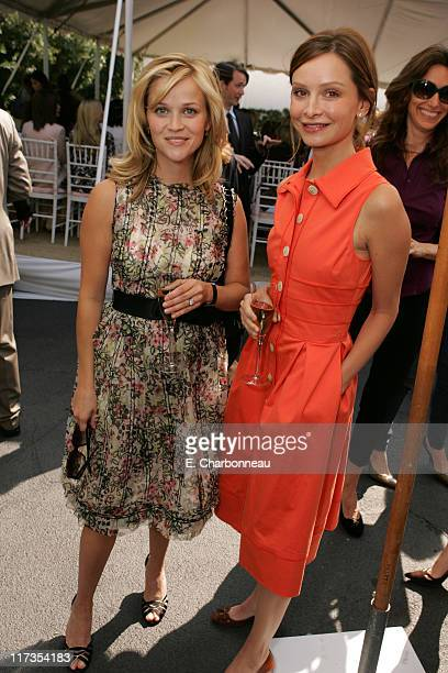 Reese Witherspoon and Calista Flockhart during Veuve Clicquot Champagne at Couture Cares A benefit for breast cancer at Home of Colleen and Bradley...