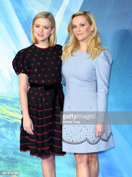 Reese Witherspoon and daughter Ava Phillippe attend the European Premiere of 'A Wrinkle In Time' at BFI IMAX on March 13, 2018 in London, England.