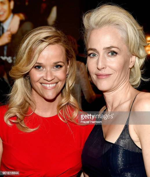 Reese Witherspoon and Gillian Anderson attend the 18th Annual AFI Awards at Four Seasons Hotel Los Angeles at Beverly Hills on January 5 2018 in Los...