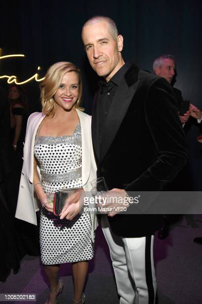 Reese Witherspoon and Jim Toth attend the 2020 Vanity Fair Oscar Party hosted by Radhika Jones at Wallis Annenberg Center for the Performing Arts on...
