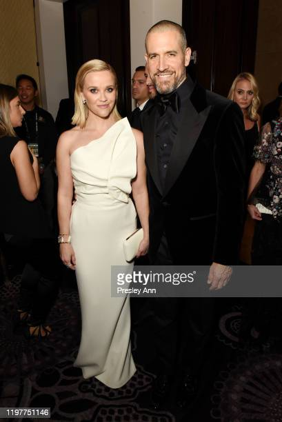 Reese Witherspoon and Jim Toth attend the 77th Annual Golden Globe Awards sponsored by Icelandic Glacial on January 5, 2020 at the Beverly Hilton in...