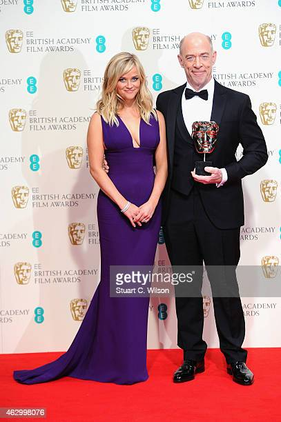 Reese Witherspoon and JK Simmons pose in the winners room at the EE British Academy Film Awards at The Royal Opera House on February 8 2015 in London...