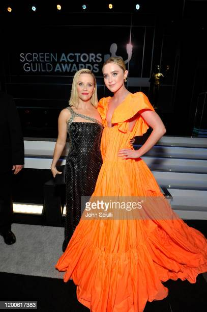 Reese Witherspoon and Kathryn Newton attend the 26th Annual Screen Actors Guild Awards at The Shrine Auditorium on January 19 2020 in Los Angeles...