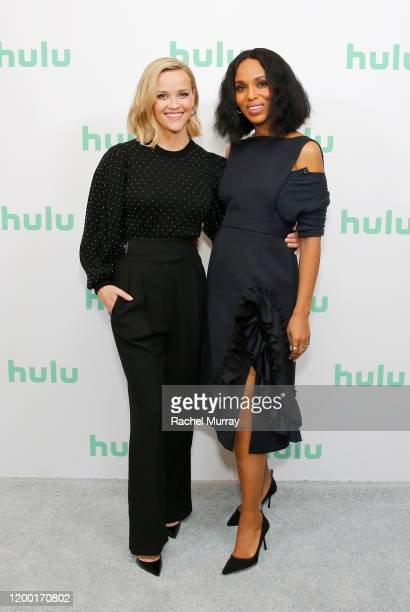 Reese Witherspoon and Kerry Washington attend the Hulu Panel at Winter TCA 2020 at The Langham Huntington, Pasadena on January 17, 2020 in Pasadena,...