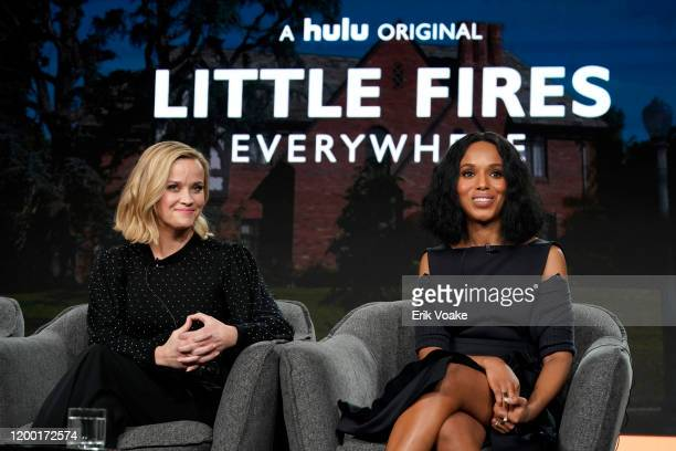 Reese Witherspoon and Kerry Washington speak onstage during the Hulu Panel at Winter TCA 2020 at The Langham Huntington, Pasadena on January 17, 2020...