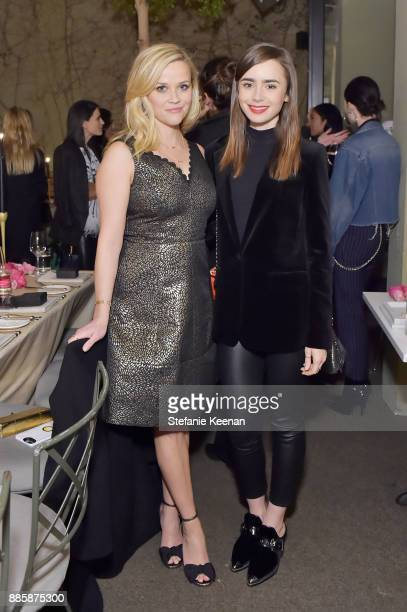 Reese Witherspoon and Lily Collins attend Molly R Stern X Sarah Chloe Jewelry Collaboration Launch Dinner on December 4 2017 in West Hollywood...