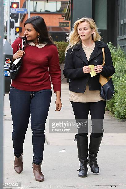 Reese Witherspoon and Mindy Kaling are seen on December 01 2012 in Los Angeles California