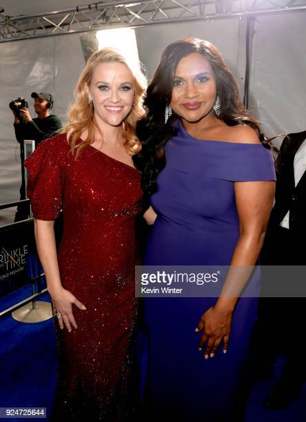 Reese Witherspoon and Mindy Kaling attend the premiere of Disney's A Wrinkle In Time at the El Capitan Theatre on February 26 2018 in Los Angeles...
