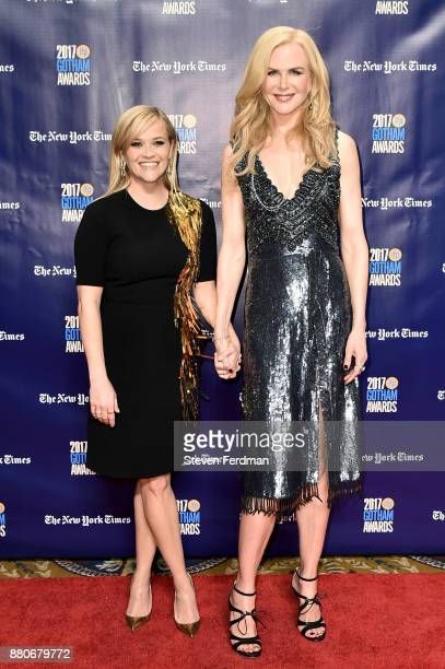 Reese Witherspoon and Nicole Kidman attend IFP's 27th Annual Gotham Independent Film Awards at Cipriani Wall Street on November 27 2017 in New York...