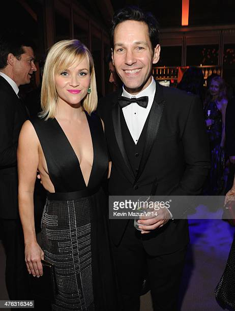 Reese Witherspoon and Paul Rudd attend the 2014 Vanity Fair Oscar Party Hosted By Graydon Carter on March 2 2014 in West Hollywood California