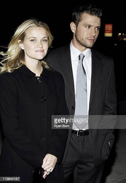 Reese Witherspoon and Ryan Phillippe during The Cinema Society Zenith Watches Host Screening of 'Flags of our Fathers' Outside Arrivals at Tribeca...
