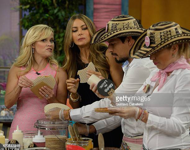 """Reese Witherspoon and Sofia Vergara is on The Set Of """"Despierta America"""" to promote the film """"Hot Pursuit"""" at Univision Studios on April 21, 2015 in..."""