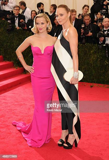 Reese Witherspoon and Stella McCartney attend the 'Charles James Beyond Fashion' Costume Institute Gala at the Metropolitan Museum of Art on May 5...