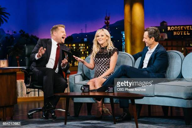 Reese Witherspoon and Tony Goldwyn chat with James Corden during 'The Late Late Show with James Corden' Wednesday March 15 2017 On The CBS Television...