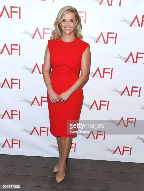 Reese Witherspoon arrives at the 18th Annual AFI Awards on January 5 2018 in Los Angeles California