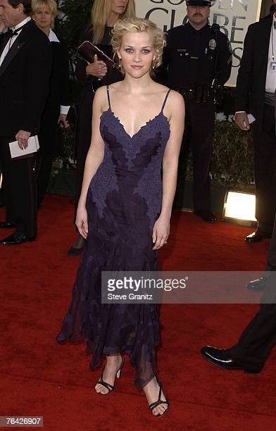 Reese Witherspoon arrives at the Golden Globe Awards at the Beverly Hilton January 20 2002 in Beverly Hills California