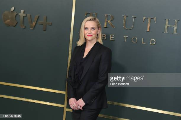 Reese Witherspoon attends Premiere Of Apple TV's Truth Be Told at AMPAS Samuel Goldwyn Theater on November 11 2019 in Beverly Hills California