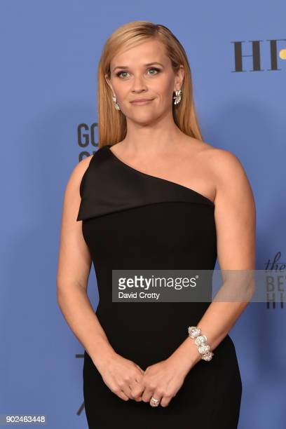 Reese Witherspoon attends the 75th Annual Golden Globe Awards - Press Room at The Beverly Hilton Hotel on January 7, 2018 in Beverly Hills,...