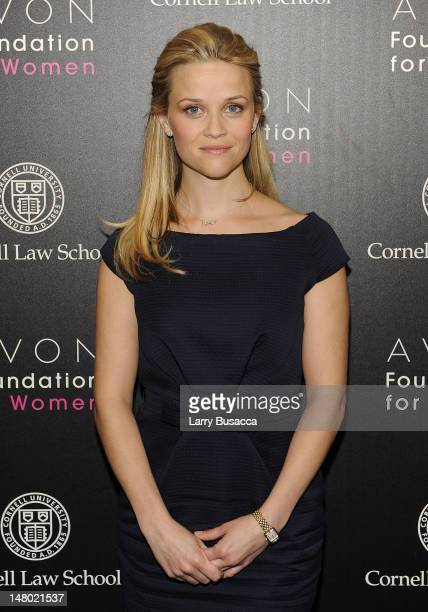 Reese Witherspoon, Avon Global Ambassador poses at the Avon Foundation for Women's press conference announcing new funding for projects that will...
