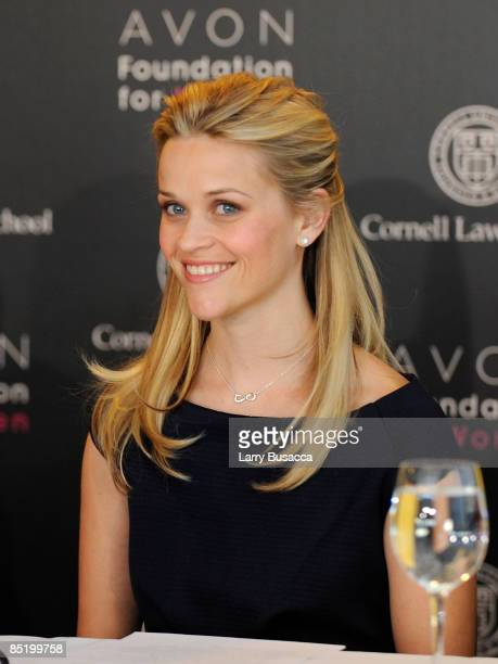 Reese Witherspoon, Avon Global Ambassador speaks at the Avon Foundation for Women's press conference announcing new funding for projects that will...