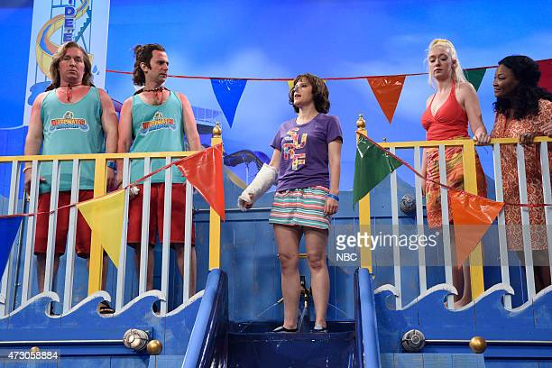 """Reese Witherspoon"""" Episode 1682 -- Pictured: Beck Bennett, Kyle Mooney and Vanessa Bayer during """"Waterslide"""" skit on May 9, 2015 --"""