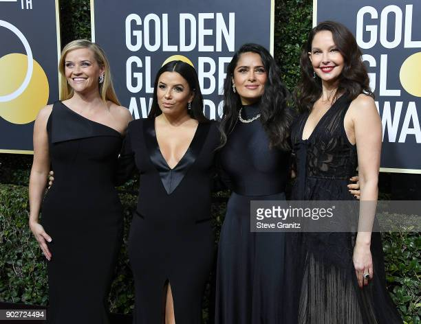 Reese Witherspoon Eva Longoria Salma Hayek and Ashley Judd arrives at the 75th Annual Golden Globe Awards at The Beverly Hilton Hotel on January 7...