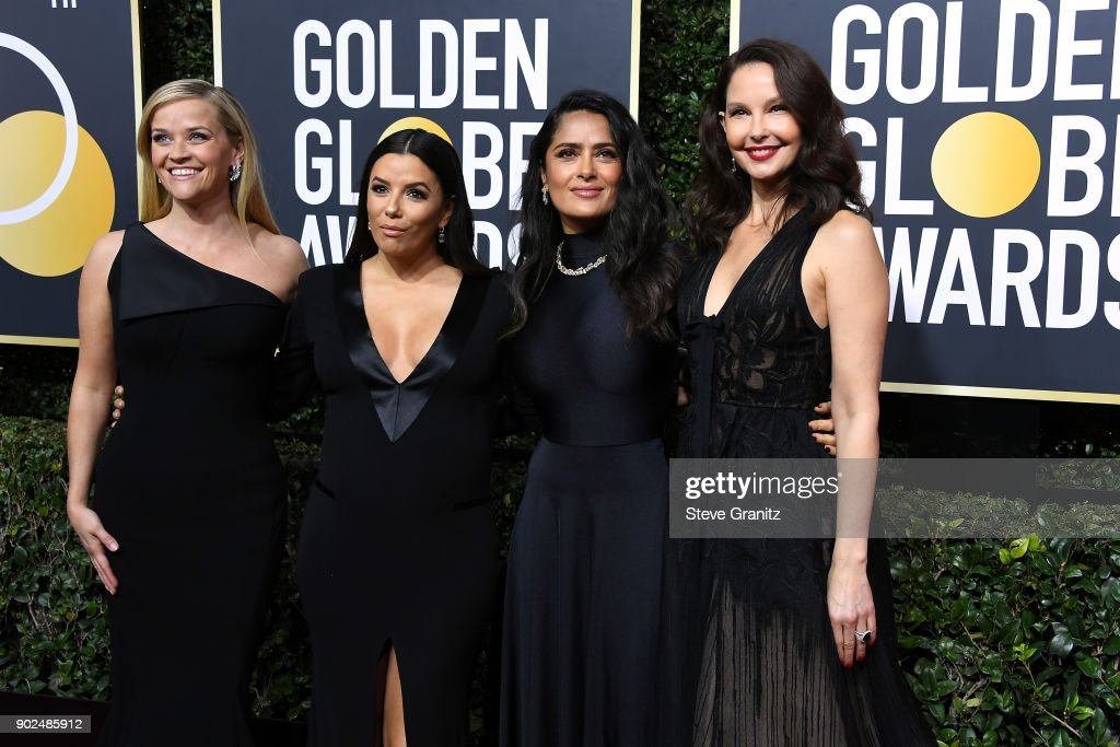 Reese Witherspoon, Eva Longoria, Salma Hayek and Ashley Judd attend The 75th Annual Golden Globe Awards at The Beverly Hilton Hotel on January 7, 2018 in Beverly Hills, California.