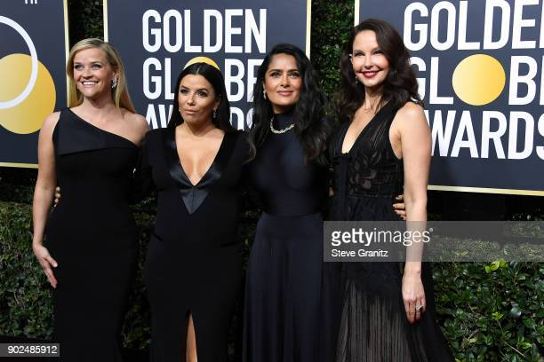 Reese Witherspoon Eva Longoria Salma Hayek and Ashley Judd attend The 75th Annual Golden Globe Awards at The Beverly Hilton Hotel on January 7 2018...