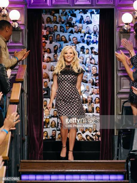 Reese Witherspoon greets the audience during The Late Late Show with James Corden Wednesday March 15 2017 On The CBS Television Network
