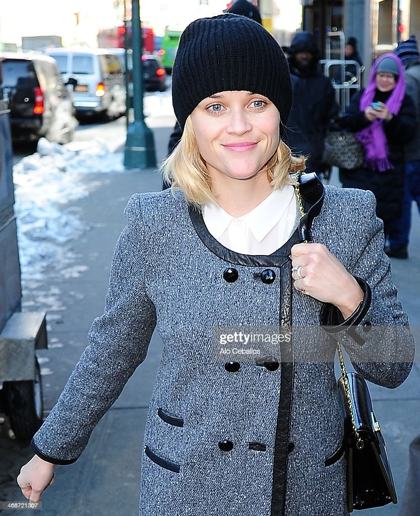 Reese Witherspoon is seen in Times Square on February 11, 2014 in New York City.
