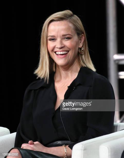 Reese Witherspoon of The Morning Show speaks on stage during the Apple TV segment of the 2020 Winter TCA Tour at The Langham Huntington Pasadena on...