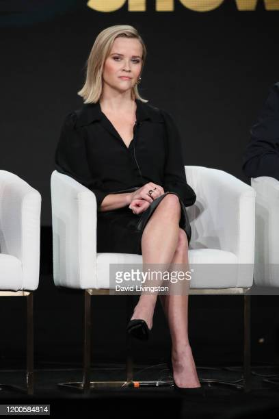 Reese Witherspoon of The Morning Show speaks onstage during the Apple TV segment of the 2020 Winter TCA Tour at The Langham Huntington Pasadena on...