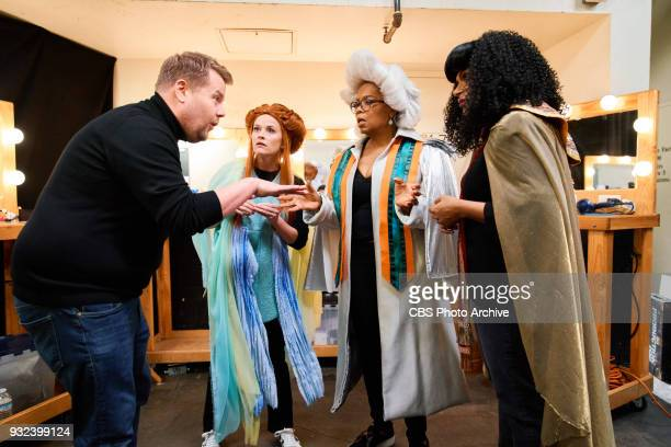 Reese Witherspoon Oprah Winfrey and Mindy Kaling perform in the sketch Wrinkle In Time 4D with James Corden during The Late Late Show with James...