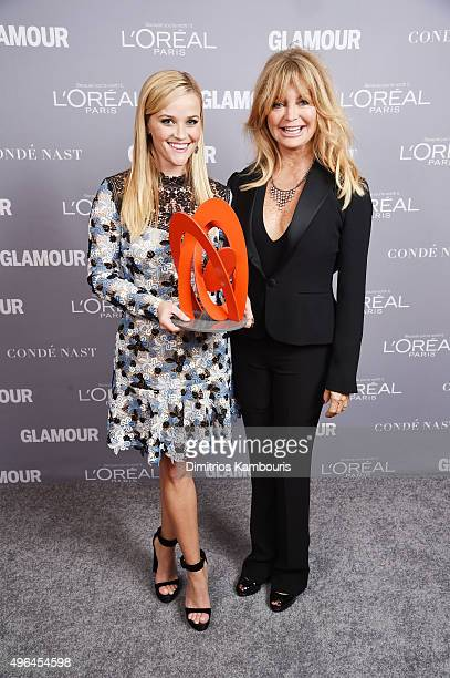 Reese Witherspoon poses with her award and actress Goldie Hawn at the 2015 Glamour Women Of The Year Awards at Carnegie Hall on November 9, 2015 in...