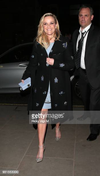 Reese Witherspoon seen arriving at afterparty of A Wrinkle In Time European film premiere at Corinthia Hotel on March 13 2018 in London England