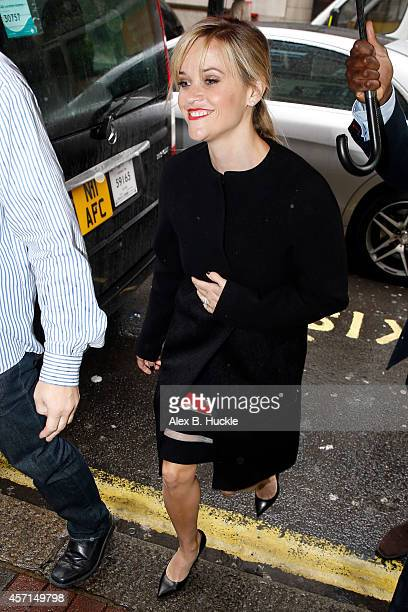 Reese Witherspoon seen arriving at the Mayfair Hotel to promote her new film 'Wild' on October 13 2014 in London England Photo by Alex Huckle/GC...