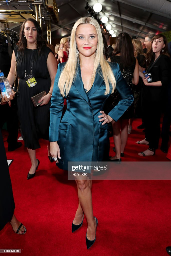 Reese Witherspoon walks the red carpet during the 69th Annual Primetime Emmy Awards at Microsoft Theater on September 17, 2017 in Los Angeles, California.