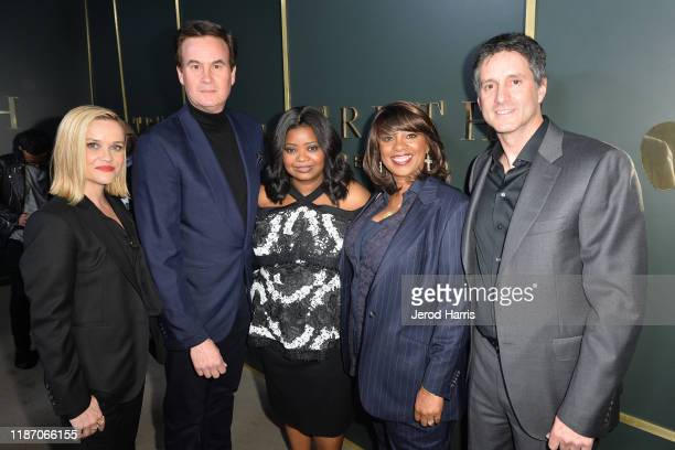 Reese Witherspoon Zacj Van Amburg Octavia Spencer Nichelle Tramble Spellman and Jamie Erlicht arrive at the premiere of Apple TV's 'Truth Be Told' at...