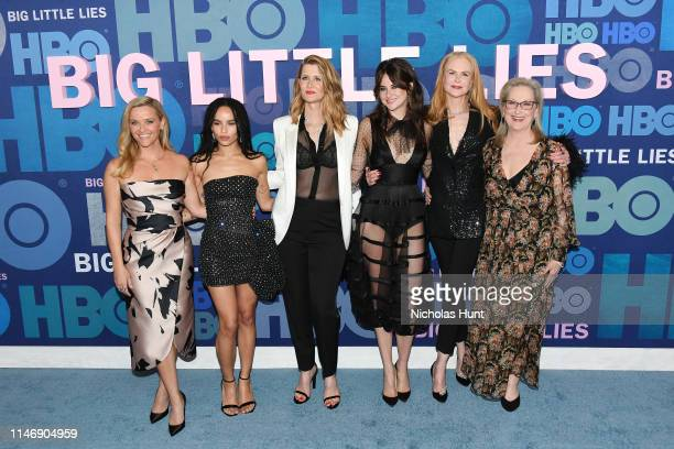 "Reese Witherspoon, Zoe Kravitz, Laura Dern, Shailene Woodley, Nicole Kidman and Meryl Streep attend the season 2 premiere of ""Big Little Lies"" at..."