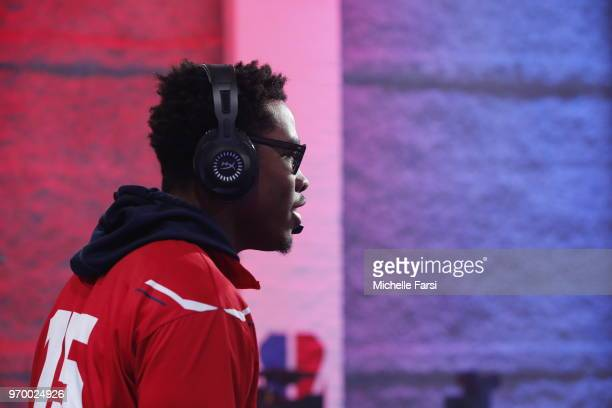 ReeseDaGod23 of Wizards District Gaming against Heat Check Gaming during the NBA 2K League Mid Season Tournament on June 8 2018 at the NBA 2K League...