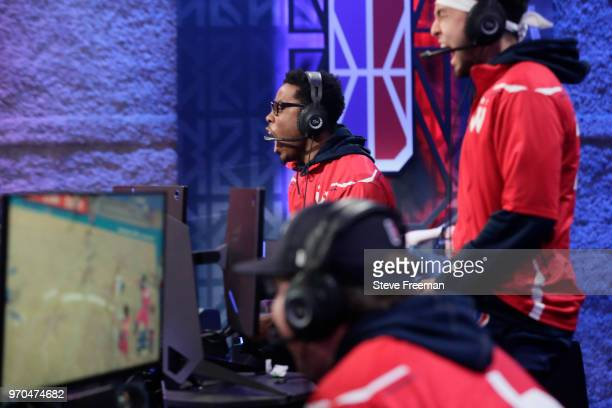 ReeseDaGod23 of Wizards District Gaming reacts against 76ers Gaming Club during the NBA 2K League Mid Season Tournament on June 9 2018 at the NBA 2K...