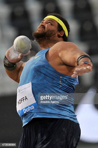 Reeses Hoffa of the United States competes in the men's Shot Put during the Doha IAAF Diamond League 2015 at Qatar Sports Club on May 15, 2015 in...