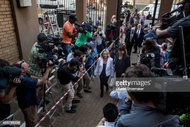 Reeva Steenkamp's mother June Steenkamp arrives at North Gauteng High Court on September 12, 2014 in Pretoria, South Africa. South African Judge...
