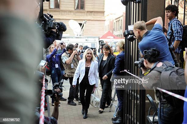 Reeva Steenkamp's mother, June Steenkamp arrives at the Pretoria High Court on September 12 in Pretoria, South Africa. Oscar Pistorius, stands...