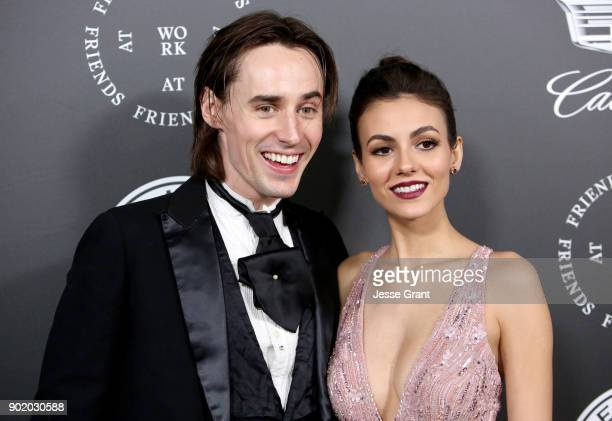 Reeve Carney and Victoria Justice attend The Art Of Elysium's 11th Annual Celebration on January 6 2018 in Santa Monica California