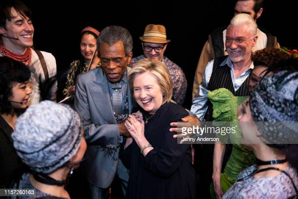 """Reeve Carney, André De Shields, Hillary Clinton, Patrick Page and the cast of """"Hadestown"""" backstage at the Walter Kerr Theatre on June 20, 2019 in..."""