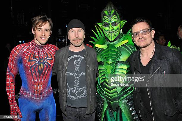 LR_ Reeve Carney as 'SpiderMan' composer The Edge Robert Cuccioli as 'The Green Goblin' and composer Bono attend the SpiderMan Turn Off The Dark...