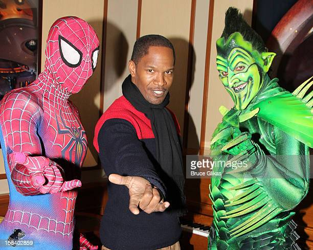 Reeve Carney as 'Spiderman' Jamie Foxx and Robert Cuccioli as 'The Green Goblin' pose backstage at the hit musical 'SpiderMan Turn Off The Dark' on...